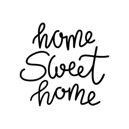 phrase home Sweet home on a white background, hand lettering