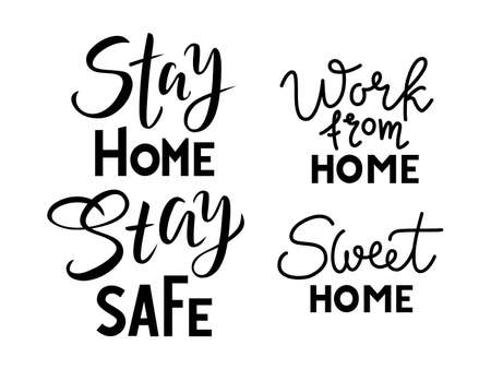set of phrase Stay home stay safe, sweet home, work on a white background Ilustração