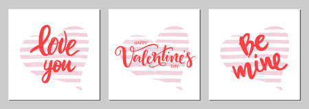 set of card for Valentines Day with lettering and pink watercolor heart background.