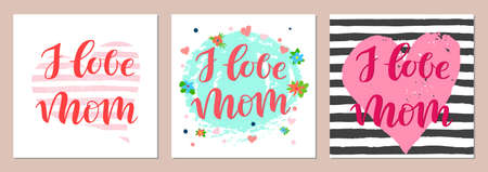 Card set with lettering I love mom with decorative elements for Mothers Day
