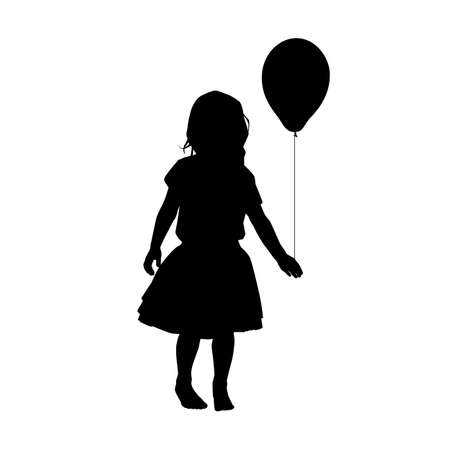 black girl silhouette with child with balloon on white background, holiday clipart. International children's day greeting card. Vector illustration baby, daughter, girl in a fluffy skirt.