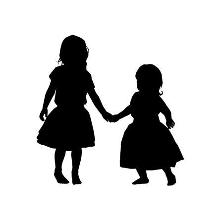 black two little girl silhouettes on white background. holiday clipart. International children's day greeting card. Vector illustration babys, daughters, girls in a fluffy skirts.
