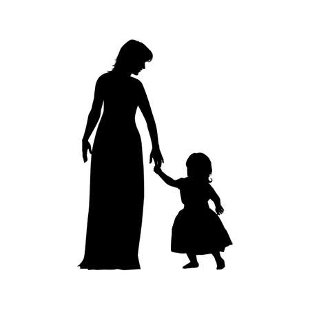 black women silhouette with child isolated on white background, holiday clipart. Happy Mother's day greeting card. Vector illustration mother and baby, daughter, girl. Ilustração