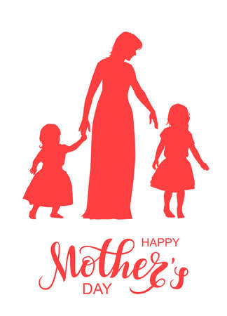 Women silhouette with little children and lettering Happy Mothers Day Ilustração