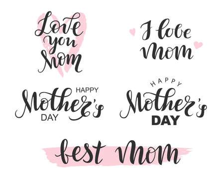 Vector Handwritten lettering black Happy Mothers Day, I love Mom, Best Mom on white background Vektorgrafik