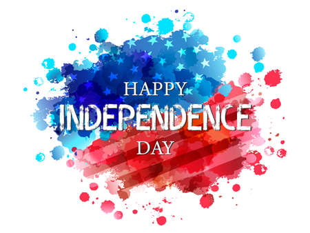 Happy Independence Day on watercolor flag background