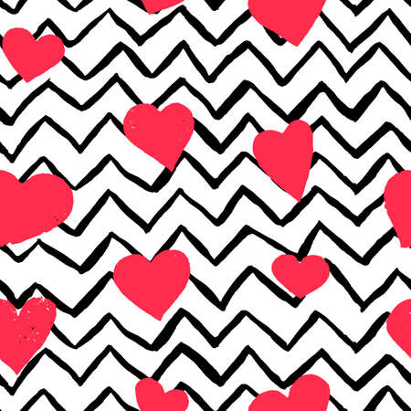 Vector seamless pattern of hand painted watercolor pink hearts and black strips