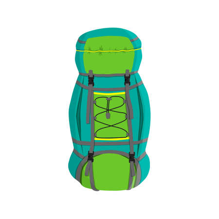 Colorful camping backpack in flat design.
