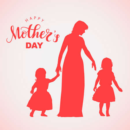 Women silhouette with little children and lettering Happy Mothers Day Imagens - 148319852