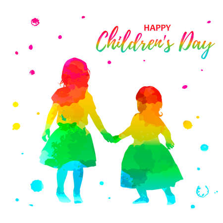 watercolor girls silhouettes on white background Imagens - 148319849