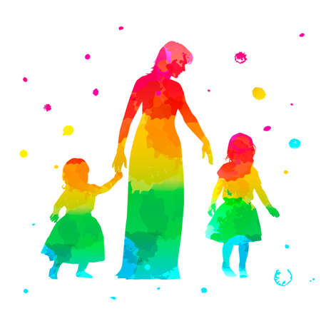 Color women silhouette with two children on white background Imagens - 148319850