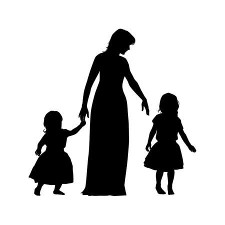 black women silhouette with two children on white background