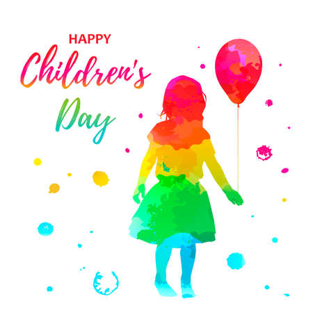 watercolor girl silhouette with child with balloon on white background Ilustração