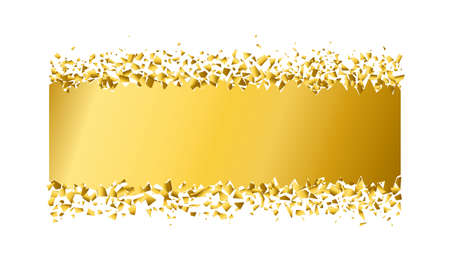 exploding rectangle with debris. Isolated gold illustration