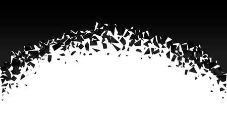 background explosion with debris. Isolated black illustration Ilustração