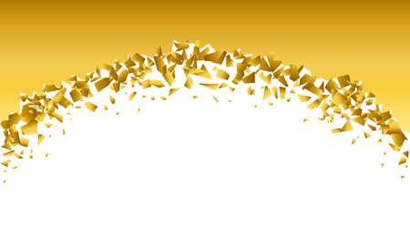 background explosion with debris. Isolated gold illustration Ilustração