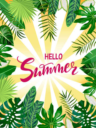 hand drawn lettering Hello Summer with tropical leaves, palms, monstera leaf, floral background. Red text on striped background for banner, flyer, greeting card, post, a print for a tshirt Ilustração