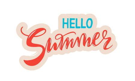 vector handwritten lettering hello Summer with texture. Red coral and cyan inscriptions with beige contour isolated on white background for banner, sticker, label, card, clothes.