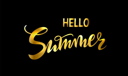 Vector handwritten lettering hello Summer time for party, sale. Gold isolated inscriptions on black background for banner, sticker, label, card.