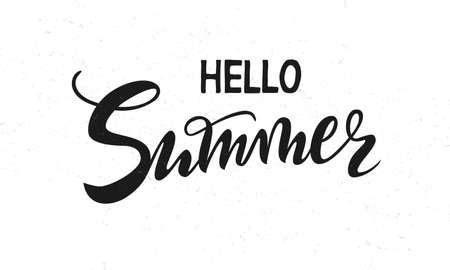 vector handwritten lettering hello Summer with texture.. Black isolated inscriptions on white background for banner, sticker, label, card, clothes.