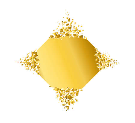 exploding rhombus with debris. Isolated gold illustration
