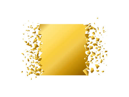 exploding square with debris. Isolated gold illustration Imagens - 148320013