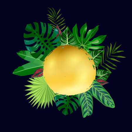 Golden spot and tropical leaves, palms, monstera leaf, floral vector background. Fashionable template on dark background for banner, greeting card, post, sticker, invitation, wedding, sale Imagens - 148218934