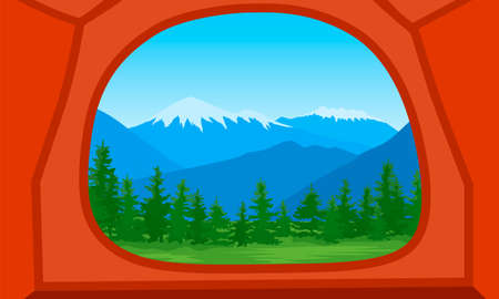 Vector illustration of a mountain landscape with a forest. Flat cartoon color illustration for hike, track, camp. Outdoor and hiking concept. View from the tent mountains and trees silhouette. Ilustração