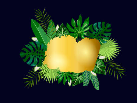 Golden spot and tropical leaves, palms, monstera leaf, floral vector background. Fashionable template on dark background for banner, greeting card, post, sticker, invitation, wedding, sale
