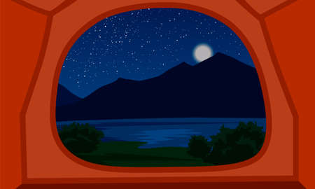 Landscape with silhouettes of mountains and stars in the sky and moon. View from the tent on a night mountain landscape. Vector illustration for hike, track, camp in a flat style.