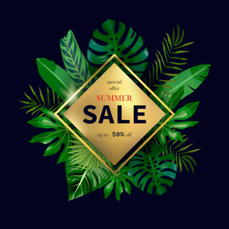 Summer Sale on golden rhombus and tropical leaves, palms, monstera leaf, floral vector background