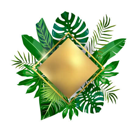 Golden rhombus and tropical leaves, palms, monstera leaf, floral vector background. Fashionable template on white background for banner, greeting card, post, sticker, invitation, wedding, sale