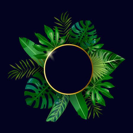 Golden round frame and tropical leaves, palms, monstera leaf, floral vector background. Fashionable template on dark background for banner, greeting card, post, sticker, invitation, wedding, sale