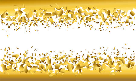 background explosion with debris. Isolated gold illustration on white background. Concept, template for sale. Horizontal banner with 3d effect of particles.