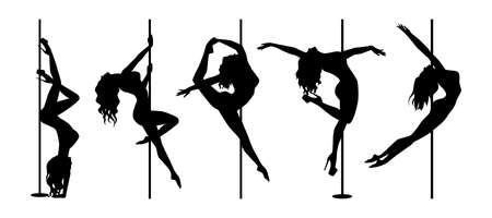 set of silhouette pole dance exotic black on white