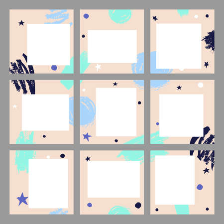 Template of background for posts in social networks. Square illustration with abstract hand drawn spots and strips on a beige background. Vector illustration EPS10