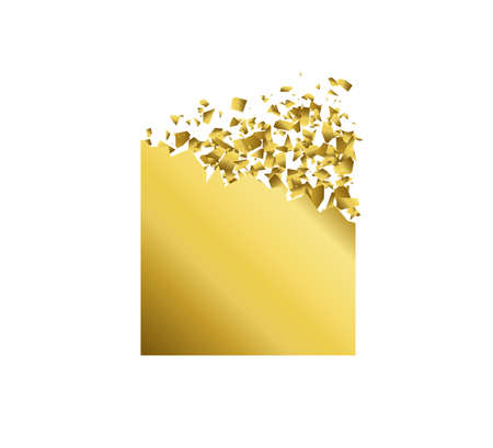 exploding square with debris. Isolated gold square on white background. Concept, template for sale. 3d effect of particles. Vector illustration EPS 10