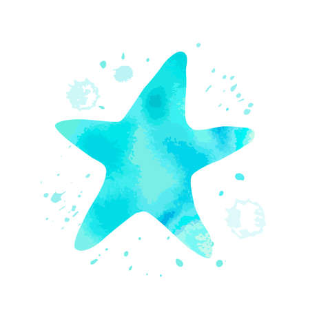Blue starfish animal with watercolor texture and abstract cyan spot on white background. Cartoon asteroid for design,   background, card, print, sticker