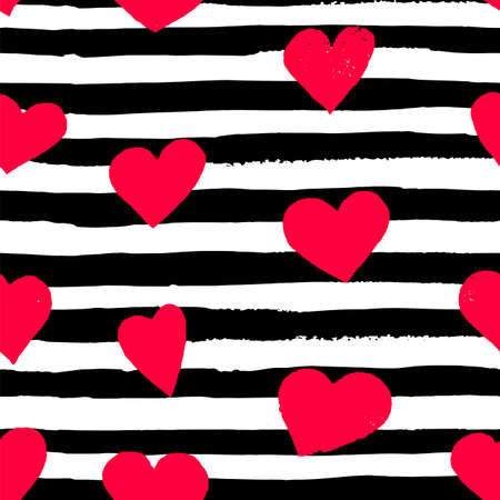 Brush drawn pink hearts and horizontal black strips. Vector seamless pattern of hand painted watercolor illustration. Background for Valentine's day card, paper, wedding invitation romantic post cards