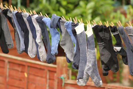 Socks on a washing line photo