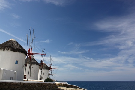 cycladic: Mykonos Windmills Stock Photo
