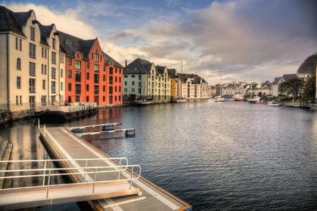 alesund: Alesund Inner Harbour Stock Photo