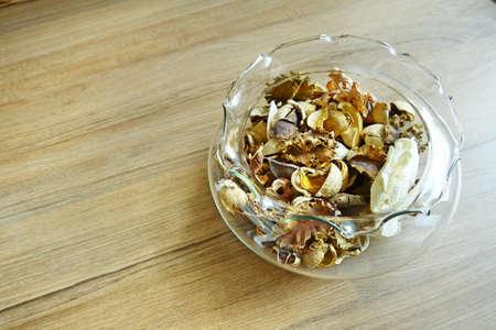 potpourri: Potpourri in a glass bowl.