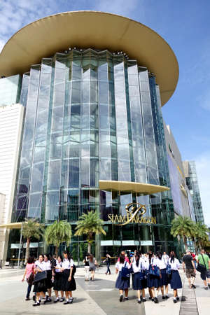 paragon: BANGKOK - 15 July 2015: Front area of Siam Paragon on 15 July 2015. This is one of the biggest shopping center in Asia. It includes a wide range of specialty stores and restaurants.