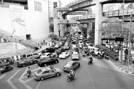 BANGKOK - 15 JULY 2015 : Due to increasing of new cars while the total length of the city road network remained the same has cause a worsen traffic problem in Bangkok.