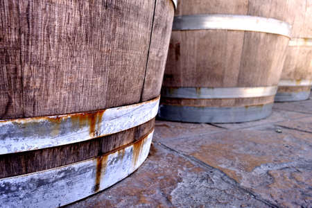 wine making: Wine barrels Stock Photo