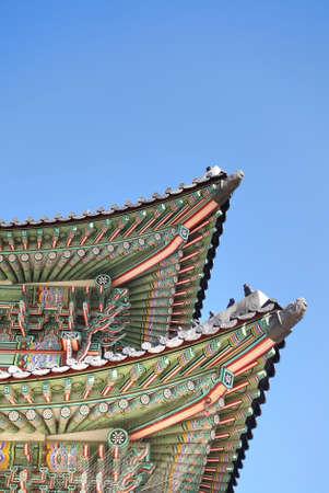 gyeongbokgung: Roof detail of Gyeongbokgung palace in Seoul, South Korea.