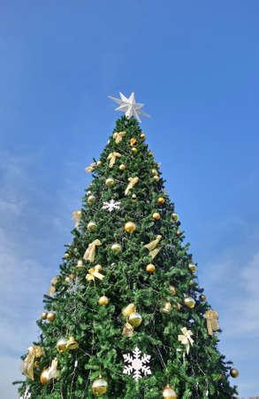 Christmas tree against blue sky Stock Photo