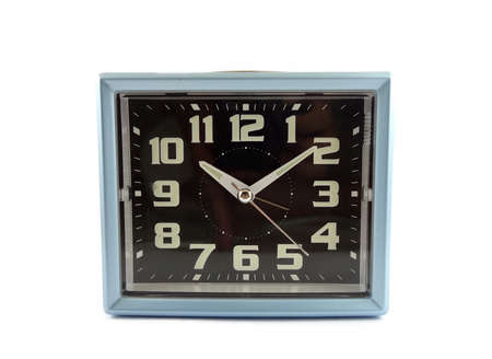 alarmclock: Retro blue clock on white background Stock Photo