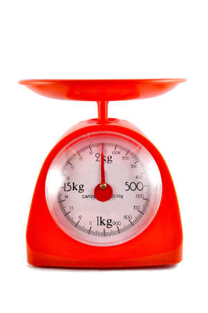 red gram: kitchen food scale on white background